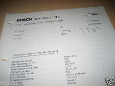 Volvo 123 GT mit Motor B 18 B ab 08.66 -, Bosch Service-Liste v. 31.03.67