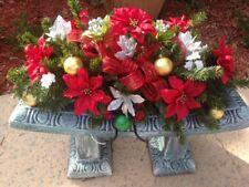 Red & Silver Poinsettias Saddle Christmas Arrange. for Headstone Grave