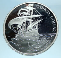 2004 CANADA UK Queen Elizabeth II FRENCH SHIP Genuine Silver Dollar Coin i77775