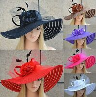 Womens Dress Church Wedding Kentucky Derby Wide Brim Sun Floral Race Hats A344