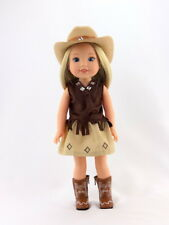 4 PC Western Cowgirl Outfit Fits 14.5 Wellie Wishers American Girl Doll Clothes