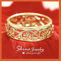 18K GOLD GF ANTIQUE FILIGREE SOLID ENGAGEMENT WEDDING ETERNIGY PLAIN BAND RING