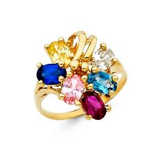 Solid 14k Yellow Gold Cocktail Ring Multi Color Cz Fashion Band Gemstone Fancy