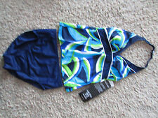 NEW MIRACLESUIT TANKINI SWIMMING SUIT WOMENS 10 NAVY FLORAL LOOK 10 LBS LIGHTER