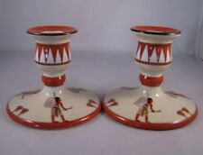 "Pair (2) of Scarce Noritake Eygptian Motif Chambersticks ""M in Wreath"""
