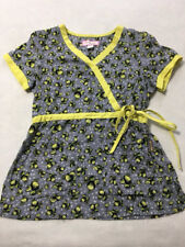 Koi S Small Kathryn Gray Yellow Lemon Fruit Side Tie Scrub Top Uniform Shirt