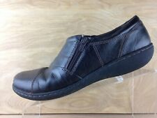Clarks Collection Womens Dark Brown Side Zip Loafer Size 10M