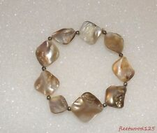 Mother of Pearl Shell Style Design Stretch Bracelet / Jewelry Estate #1