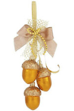 Christmas Glass Acorns Ornament GARLAND in Yellow Gold New Year Decor Wall Door