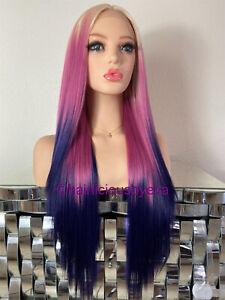 Pastel wig ombré blonde purple pink straight long middle part 26 inch long heat