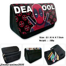 Marvel Deadpool Iron Man Zipper Student Pencil Case Canvas Cosmetic Bag Gifts