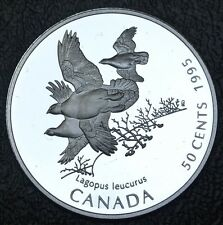 CANADIAN GEM 1995 - 50 CENTS -.925 SILVER - White Tailed Ptarmigan - UH Cameo