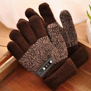 Kids Winter Full Finger Screen Knitted Gloves Warm Thicken Mittens Protector