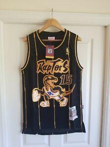 NWT NBA Vince Carter Throwback BLACK GOLD Toronto Raptors Jersey Size MEDIUM