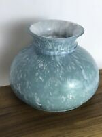"Vtg Blue Green White Cased Glass Oil Lamp Shade Student 6.75"" 7"" Fitter GWTW"