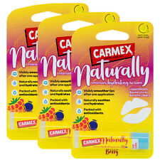 3 x Carmex NATURALLY Berry Lip Balm Natural Hydrating Moisturising Stick 4.25g