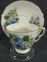 Queen Anne Blue & Pink Flowers 8609 Tea Cup & Saucer Set English Bone China B970