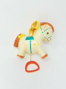 Vtg Fisher Price rocking pony horse crib pull toy music box 1968