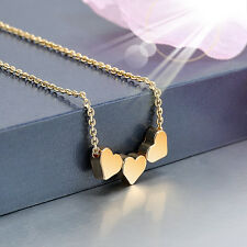 Women Jewelry three Heart Charm chain Necklace Pendant Stainless steel 3 colors
