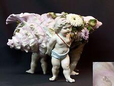 1840 superbe jardinière pot porcelaine saxe 35cm3kg Conche rose 3 putti angelot