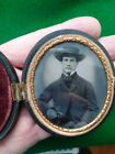 Antique CIVIL WAR  Oval Cased  Ambrotype PHOTOGRAPH  Gentleman with GLOVES