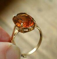 Vintage  5 carat Orange Topaz  Gold Ring size N