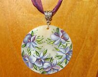 Shell Pendant Purple Lilac Flowers Necklace Genuine Russian hand made White Lip