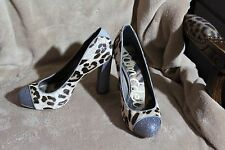 Sam Edelman Frances Brown Silver Leopard Pony Hair Platform Heels Pumps Size 7