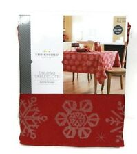 Threshold Oblong Tablecloth Red Silver Snowflake Metallic Cover 60 x 104 New