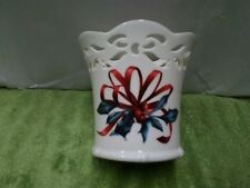 Lenox Winter Greetings~Catherine McClung Open Lace Christmas Votive Holder~Euc