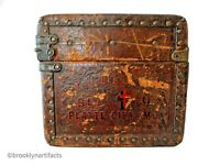 Antique American 1866 Leather Covered Suitcase / Trunk - Religious Monogram