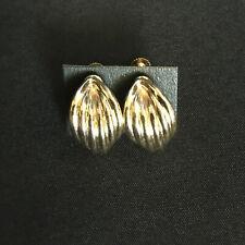 VINTAGE GOLD LEAF DESIGN CLIP EARRINGS FROM JAPAN