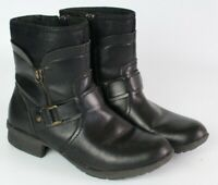 Clarks womans size 8 M Riddle Avant Black Leather Moto Boots insulated zipper