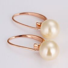 18k Rose Gold Plated White Pearl Earring Piercing Stud Eardrop Dangle Jewelry