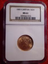 Gold 1885 MS 61 Great Britain Gold Sovereign NGC Certified Coin Queen Victoria