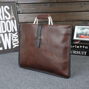 Men Trendy Leather Briefcase Laptop Bag Attache Messenger Portfolio Bags Brown