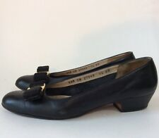 "Salvatore Ferragamo Vara Navy Blue Bows Women 6.5 AA Pumps 1.5"" High Heels Shoes"