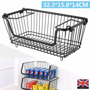 Metal Wire Fruit Basket Saves Space Stackable Kitchen Storage Shelf And Durable