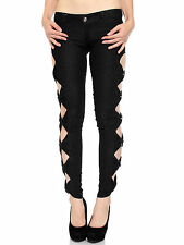 Women Denim Jeans Side Bow Legging Jeggings Stretch Pant Casual Trousers