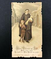 Holy Card Saint Vincent De Paul VTG DieCut French Catholic Priest Poor Christian