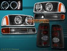 99 00 01 02 03 GMC SIERRA LED 2 HALO HEADLIGHTS+BUMPER LIGHTS+SMOKE TAIL LIGHTS