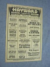 1935 HAYWARD THEATRE Randolph Scott LAUREL & HARDY Eddie Cantor HELLDORADO