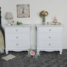 Pair of ornate white wooden chest of drawers vintage French bedroom furniture