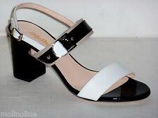 S727 Melluso Sandali Donna Bianco Nero con fibia tacco alto N. 40