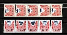 USA, SCOTT # CVP31 & CVP32, SET OF 2 COIL STRIPS OF 5 STAMPS 29¢ COMPUTER VENDED