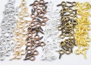 Screw Eye Hooks Clasp DIY Jewellery Finding Screw Eyelet Eyes Nail Hanger K29 UK