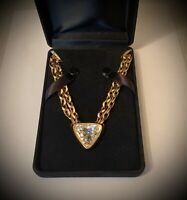 Chunky Runway Swarovski Swan Signed Gold Tone Triangle Clear Crystal Necklace