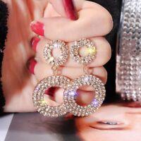 Fashion Luxury Round Drop Dangle Earrings Women Crystal Geometric Jewelry Gift