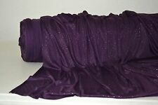 "Purple Jersey Knit w/Glitter & Gold Metallic 3D Dots 60"" Wide Fabric By The Yard"
