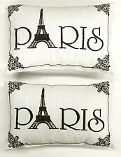 """Paris"" - Set of 2:  Embroidered Accent Pillows - (Small/Cute: 8 1/2"" x 5 1/2"")"